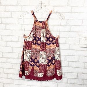 Vanity patchwork lace detail sleeveless top  XL